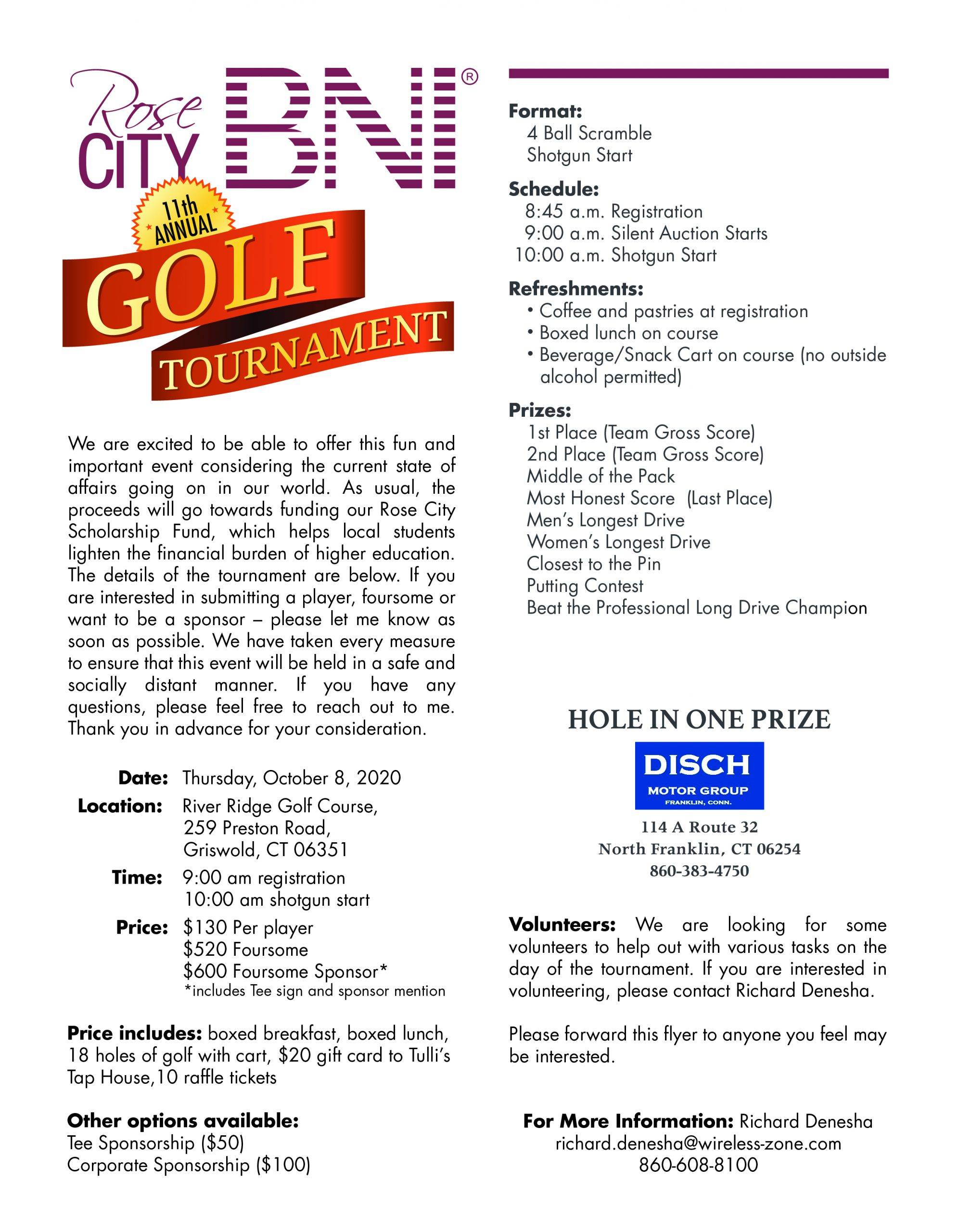 Rose City BNI 11th Annual Golf Tournament October 8, 2020